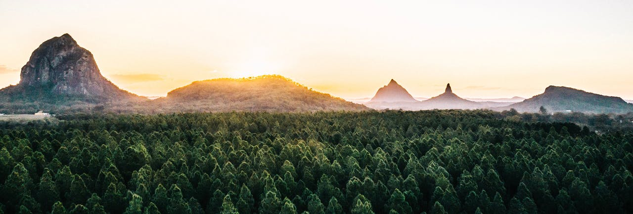 Landscape image of glass house mountains